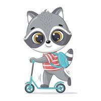 schattige baby wasbeer op scooter