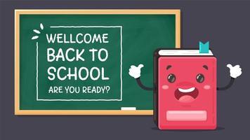 notebook en welkom terug op schoolbord