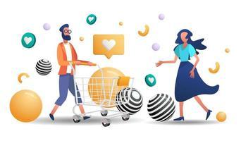man en vrouw winkelen
