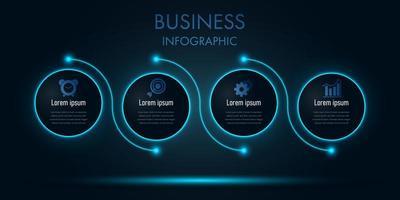 blauwe neon zakelijke cirkel infographic sjabloon