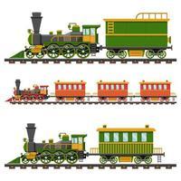 vintage trein op spoorweg op wit vector