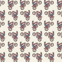 naadloze patroon met skelet rijden motorfiets