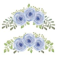 handgeschilderde aquarel roos bloem curve boeket set