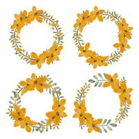 set aquarel gele bloemblad bloem cirkel frames