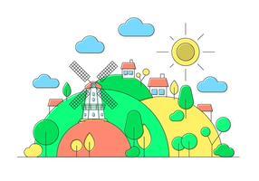 Windmolen Hill Vector Illustratie