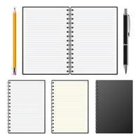 realistische notebook geïsoleerd op een witte achtergrond vector
