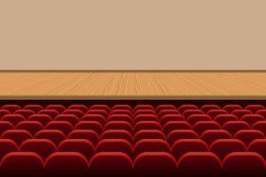 theaterzaal met rijen eten en leeg podium