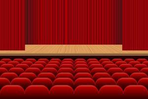 theaterzaal met rijen rode stoelen