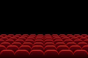 rijen bioscoopstoelen op zwart