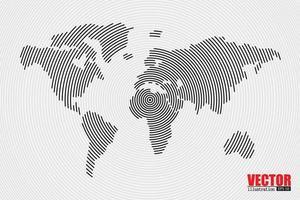 abstracte radiale zwart-wit wereldkaart vector