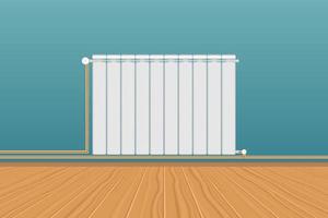 witte verwarming radiator op blauwe muur