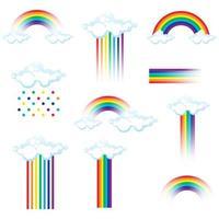 set van kleurrijke regenbogen en wolken vector