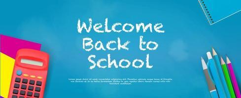 Welkom terug op school banner met benodigdheden