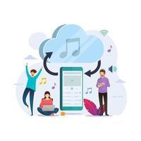 smartphone streaming muziek met cloudopslag vector