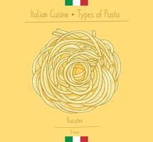 Italiaans eten bucatini sphagetti-achtige pasta