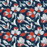 donkerblauw en rood naadloos patroon met alstroemeria knoppen en bloemen