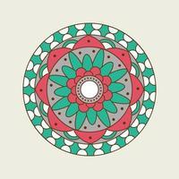 groen, wit en roze bloemen gestippelde mandala vector