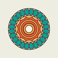 groen en oranje decoratieve cirkelvormige mandala vector