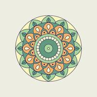 oranje, groene en gele bloemenmandala vector
