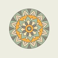 groene en oranje cirkelvormige bloemenmandala vector