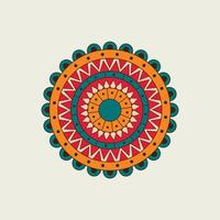 rode, oranje en blauwe mandala met halve cirkels vector