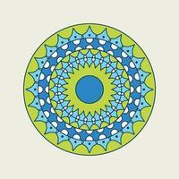 blauwe en groene mandala met gestippelde ring vector