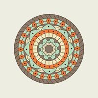 blauwe, oranje en bruine cirkelvormige mandala vector