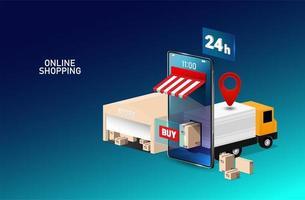online winkelen ontwerp met magazijn en vrachtwagen