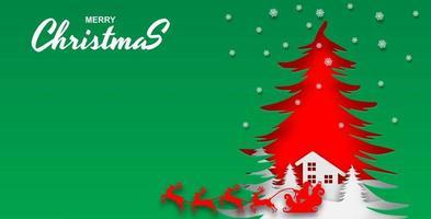 vrolijk kerstfeest groen gesneden papier ontwerp