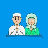 moslim man en vrouw bidden
