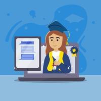 virtuele afstuderen met certificaat en laptop vector