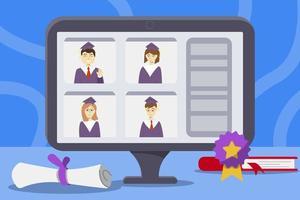 online met afstuderen met 4 studenten design vector