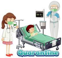 coronavirus thema met jongen ziek in bed