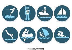 Water Sport Blauwe Pictogrammen Vector