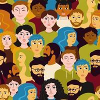kleurrijk divers menigte naadloos patroon
