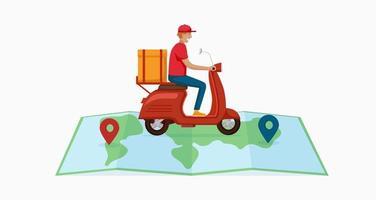 cartoon mannelijke koerier rijden op de kaart vector