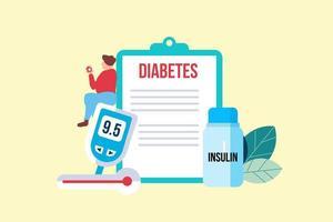 diabetes patiënt concept met klein karakter