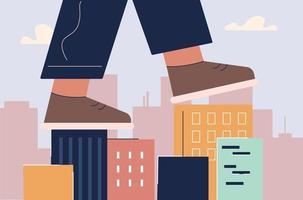 schoenen lopen op daken van huizen vector