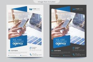 grijze en witte flyer-sjablonen met blauwe accenten