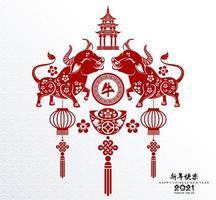Chinees Nieuwjaar 2021 ontwerp met ossen en lantaarns vector