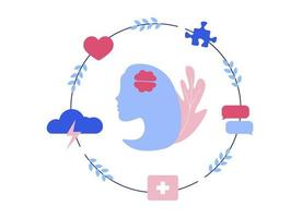 silhouet van vrouwelijk hoofd met abstracte psychologische stadia