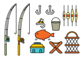 Visserstang- en gereedschapsvectoren vector