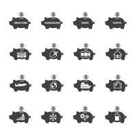 spaarvarken pictogrammen vector