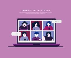 paars ontwerp met mensen in videogesprek vector