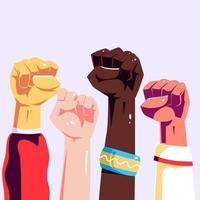 multiraciale opgeheven vuisten in cartoonstijl