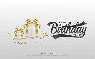 gelukkige verjaardag ontwerp met geschenken op grijs