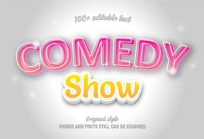 comedy show neon roze en gele bewerkbare tekst vector