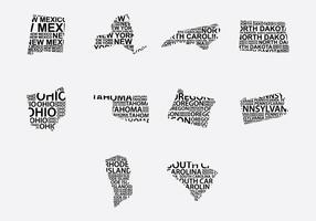 Amerika Word Map Set 5 vector