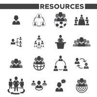 set van 16 zwart-wit iconen van de menselijke hulpbronnen