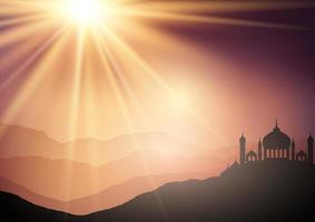 landschapsachtergrond met moskeeën tegen zonsonderganghemel